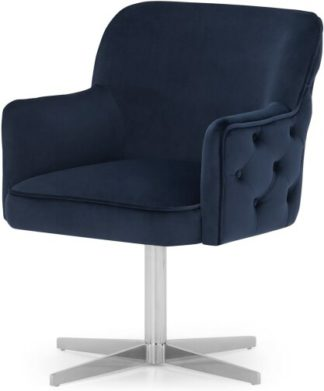 An Image of Upton Office Chair, Royal Blue Velvet & Chrome