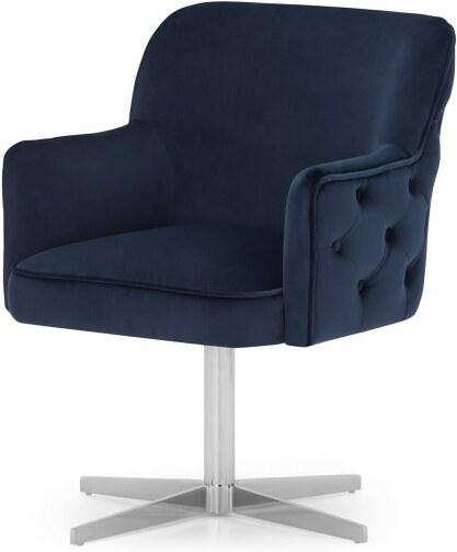 An Image of Upton Office Chair, Royal Blue Velvet & Chrome