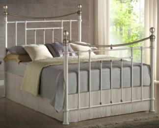 An Image of Bronte Cream Metal Bed Frame - 5ft King Size