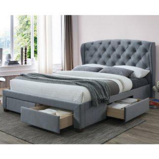 An Image of Hope Velvet Upholstered Storage King Size Bed In Grey