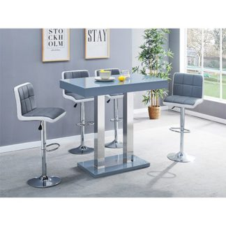 An Image of Caprice Glass Bar Table In Grey With 4 Grey White Copez Stools