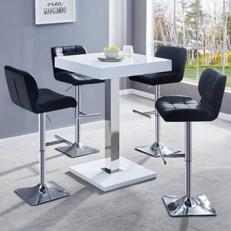 An Image of Topaz White Gloss Bar Table With 4 Candid Black Bar Stools