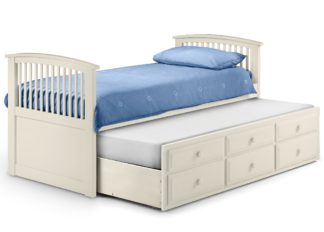 An Image of Hornblower Stone White Wooden 3 Drawer Storage Guest Bed Frame and Trundle - 3ft Single