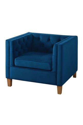 An Image of Miasto Armchair Ink Blue Velvet