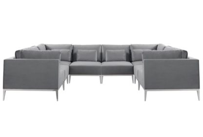 An Image of Cassie Super Lounge Suite – Dove Grey – Stainless Steel Base