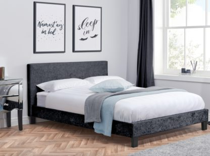 An Image of Berlin Black Crushed Velvet Fabric Bed - 4ft Small Double