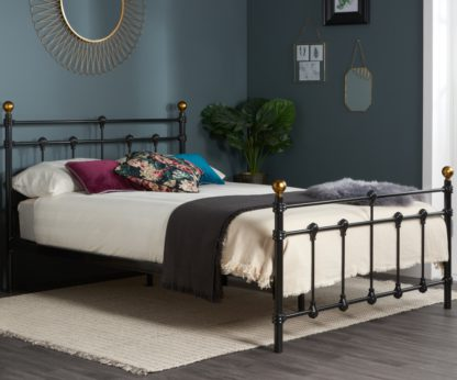 An Image of Atlas Black Metal Bed Frame - 4ft6 Double