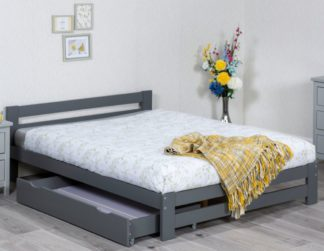 An Image of Xiamen Grey Wooden Bed Frame Only - 4ft Small Double
