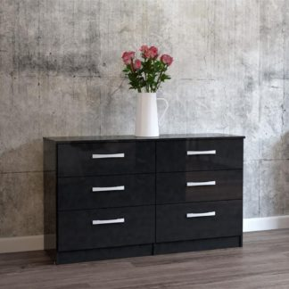 An Image of Lynx 6 Drawer Chest Black