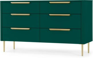An Image of Ebro Wide Chest of Drawers, Peacock Green