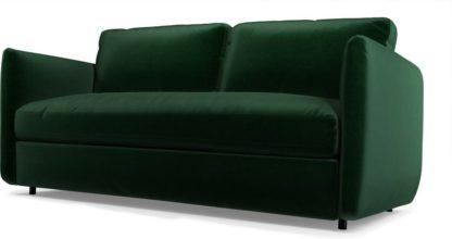 An Image of Fletcher 3 Seater Sofabed with Pocket Sprung Mattress, Bottle Green Velvet