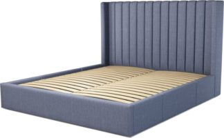 An Image of Custom MADE Cory Super King size Bed with Drawers, Denim Cotton