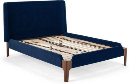 An Image of Roscoe King Size Bed, Royal Blue Velvet & Dark Stain Oak Legs