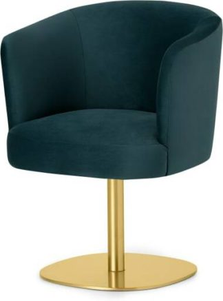 An Image of Revy Office Chair, Steel Blue Velvet with Brass Leg