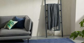 An Image of Burley Wool Throw 125 x 170cm, Dark Blue/Grey