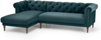 An Image of Barstow Left Hand Facing Chaise End Corner Sofa, Steel Blue Velvet