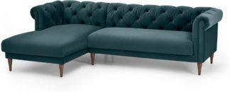 An Image of Barstow Left Hand Facing Chaise End Corner Sofa, Steel Blue Velvet