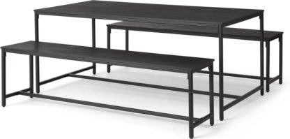 An Image of Lomond Dining Table and Bench Set, Brushed Charcoal & Black Mango Wood