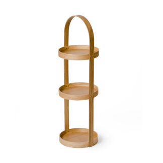 An Image of Wireworks Natural Oak Round Caddy 3 Tray Mezza