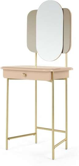 An Image of Maddie Dressing Table, Pink & Brass