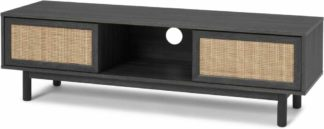 An Image of Pavia Wide TV Stand, Natural Rattan & Black Wood Effect