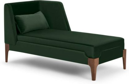 An Image of Roscoe Right Hand Facing Chaise Longue, Pine Green Velvet