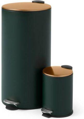 An Image of Cross Flat Top Pedal Bin, 27L & 3L, Forest Green & Copper