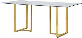 An Image of Saffie 6 Seat Dining Table, Brass & Glass