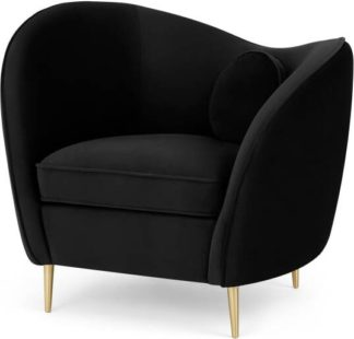 An Image of Kooper Accent Armchair, Deep Black Velvet