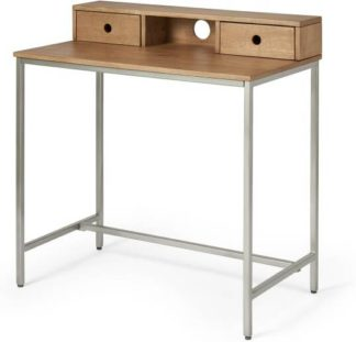 An Image of Lomond Compact Desk, Honey Mango Wood & Brushed Steel