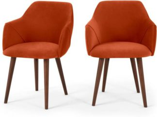 An Image of Set of 2 Lule Carver Dining Chairs, Flame Orange Velvet