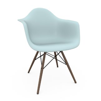 An Image of Vitra Eames DAW Armchair New Height Ice Grey Dark Maple Base