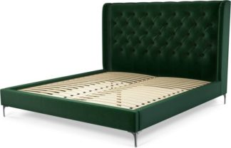 An Image of Custom MADE Romare Super King Size Bed, Bottle Green Velvet with Nickel Legs
