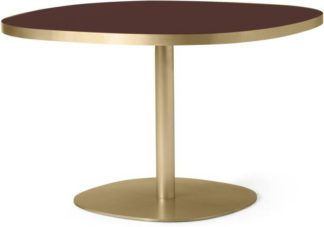 An Image of Hampson 4 Seat Round Dining Table, Brass & Plum Glass
