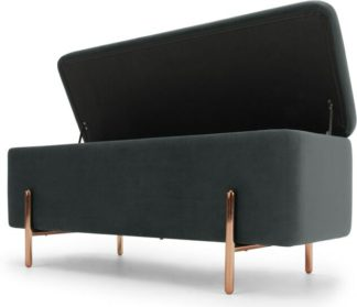 An Image of Asare 110cm Upholstered Ottoman Storage Bench, Midnight Grey Velvet and Copper