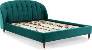 An Image of Margot Double Bed, Seafoam Blue Velvet & Dark Stain Brass Legs
