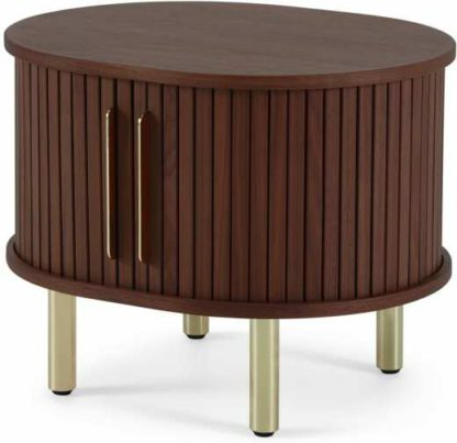 An Image of Tambo Bedside Table, Walnut & Brass