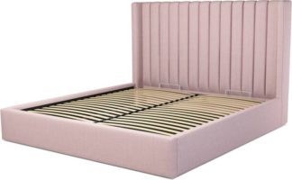 An Image of Custom MADE Cory Super King size Bed with Ottoman, Tea Rose Pink Cotton