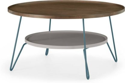 An Image of Dotty Round Coffee table, Dark Stain and Grey