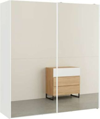 An Image of Elso Sliding Wardrobe 180cm, White Frame with Mirror Doors