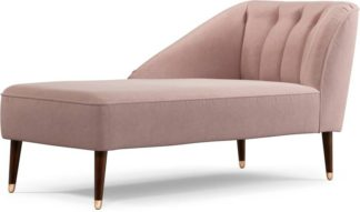 An Image of Margot Left Hand Facing Chaise Longue, Pink Cotton Velvet with Dark Wood Copper Legs