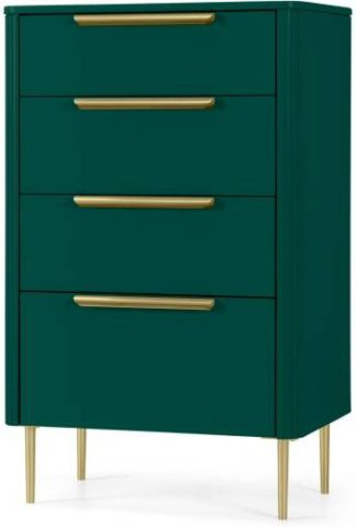 An Image of Ebro Tall Chest of Drawers, Peacock Green