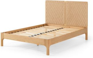 An Image of Tulana Double Bed, Natural Weave & Oak