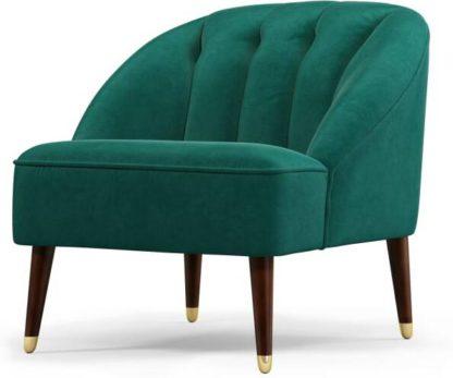 An Image of Margot Accent Armchair, Teal Cotton Velvet