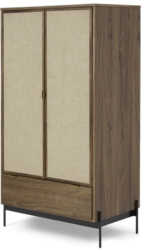 An Image of Balmore Double Wardrobe, Walnut & Hessian
