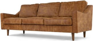 An Image of Dallas 3 Seater Sofa, Outback Tan Premium Leather