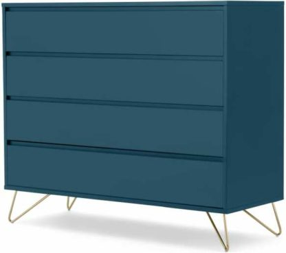 An Image of Elona Chest Of Drawers, Teal and Brass