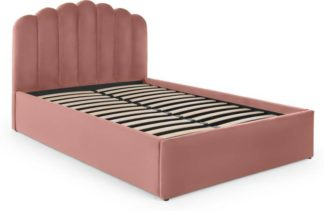 An Image of Delia King Size Ottoman Storage Bed, Blush Pink Velvet