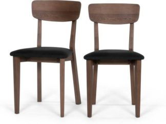 An Image of Set of 2 Jenson Dining Chairs, Dark Stain Oak and Dark Grey
