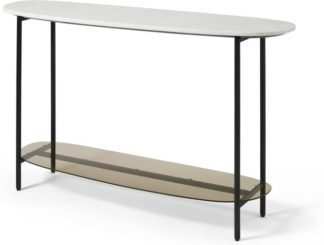 An Image of Tiziana Console Table, White Marble & Amber Glass